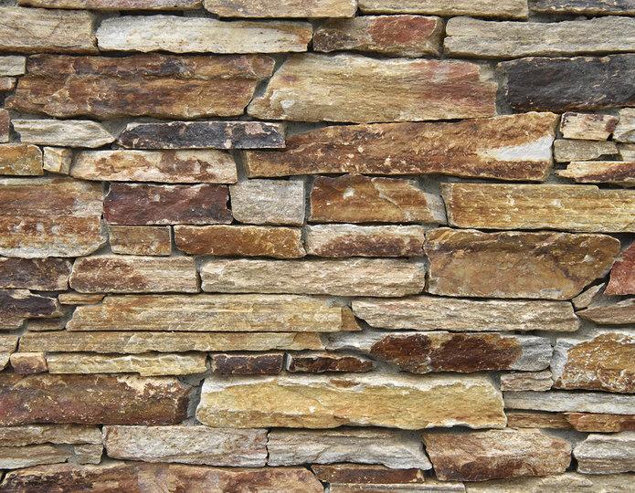 Salmon Quartzite Stone Veneer Natural Ledgestone on rock wall project