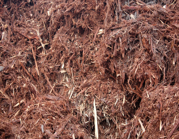 Gorilla Hair Shredded Redwood landscape mulch groundcover in bulk at rock yard