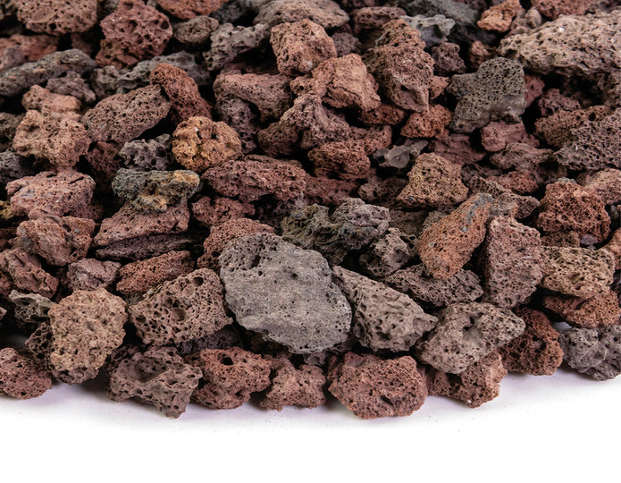 Red Lava crushed stone rock closeup texture
