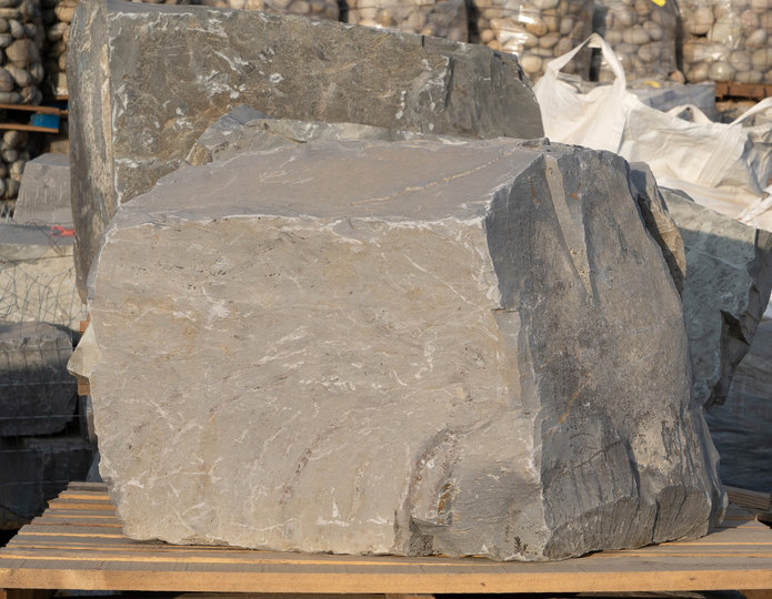 Sacramento Blue landscape boulders on pallet in rock yard 3