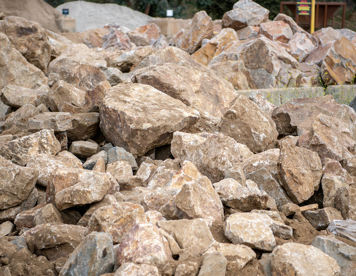 Brown Ale landscape boulder pile in rock yard 2