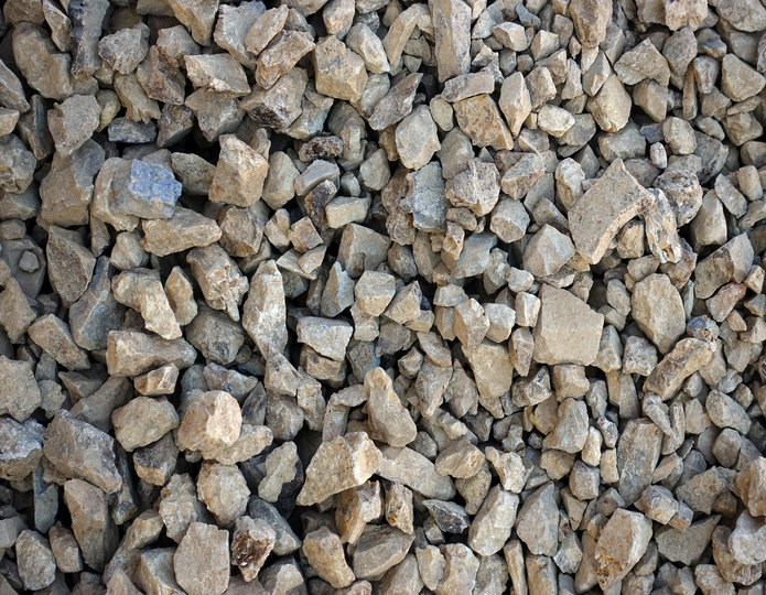 Golden Fawn crushed stone rock in bulk at rock yard