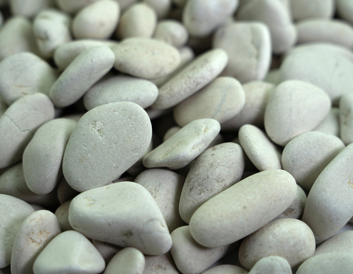 Ivory Polynesian landscape pebble in bulk at rock yard