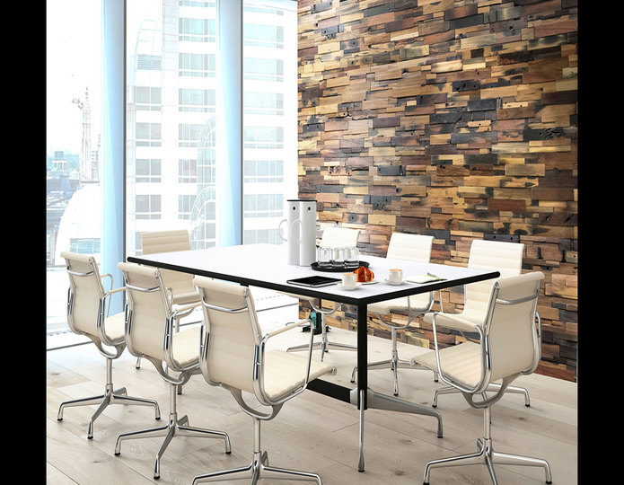 realstone systems reclaimed wood multi colored panels in office