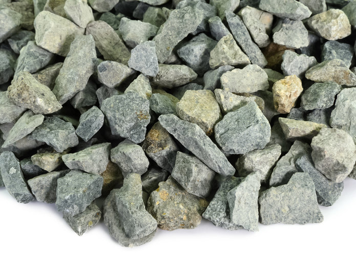 Seafoam Green crushed stone rock in bulk at rock yard 2