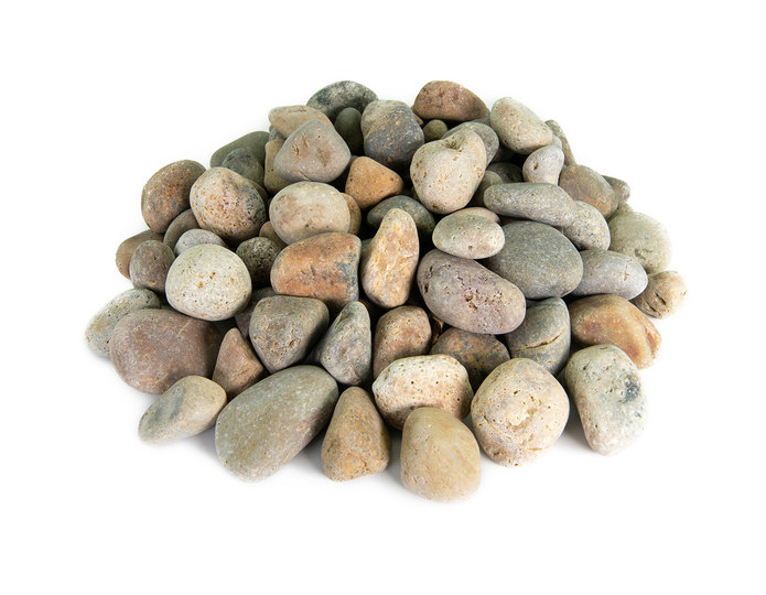 Buff Mexican Beach Pebble landscape cobblestone pebble in bulk at rock yard