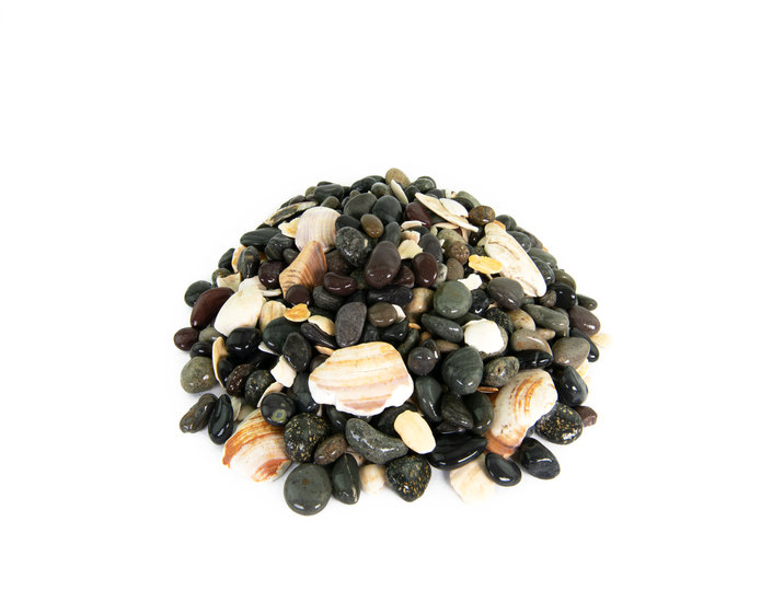 Mexican Beach Pebble with seashells landscape cobblestone pebble closeup texture