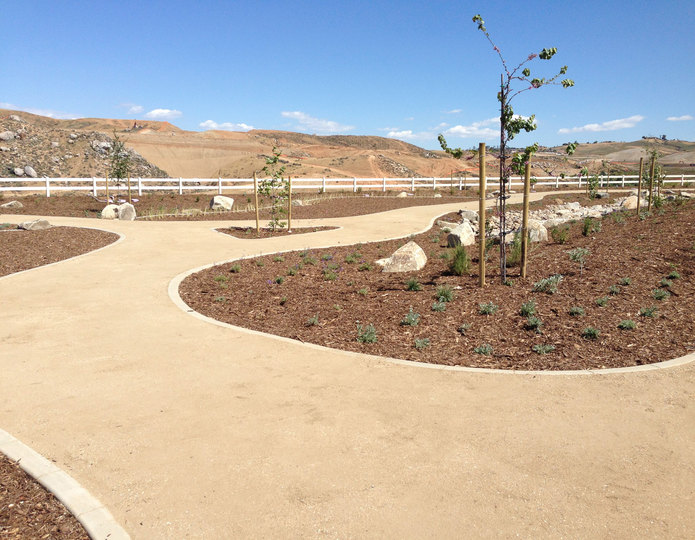 Desert Gold decomposed granite fines pathway with mulch and plants installed in park