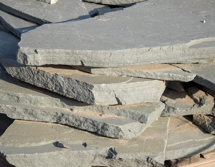 Bluestone Blue flagstone patio pavers in bulk at rock yard