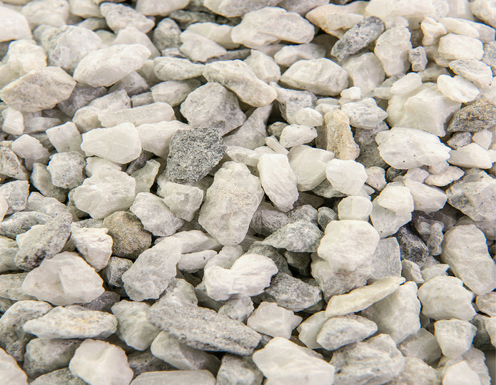 Smokey White Ice crushed stone rock in bulk at rock yard