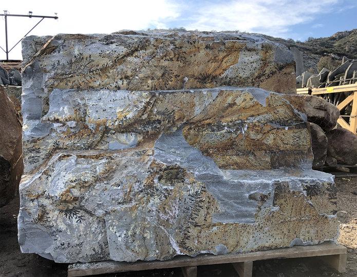 Steelhead Bench landscape boulder slabs on pallet in rock yard 3