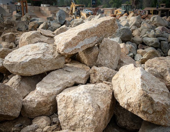 Desert Gold landscape boulder pile in rock yard