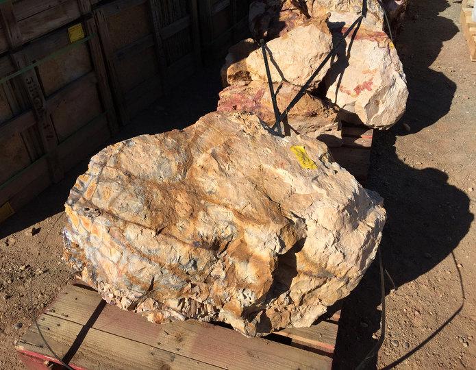 Alaskan Sunset landscape boulders in bulk at rock yard 2