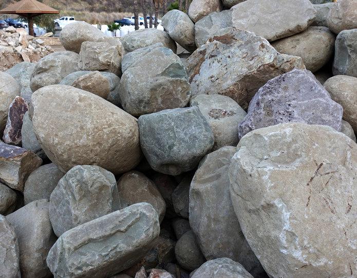 Malibu landscape boulder pile in rock yard 2