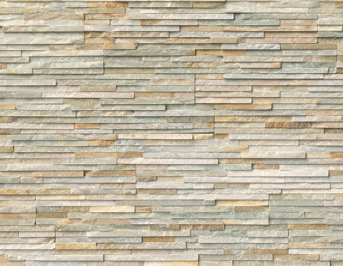 Golden Honey Pencil Stone Veneer Natural Ledgestone on rock wall project 2