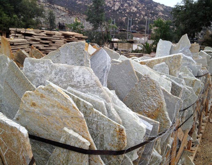 Silver quartzite natural patio flagstone in bulk at rock yard