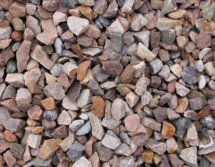 Apache Brown crushed stone rock in bulk at rock yard