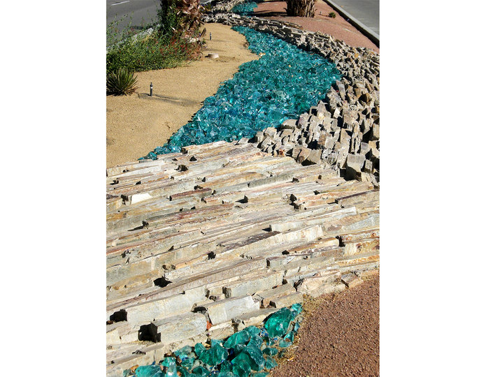 Crushed colored landscape glass in bulk at rock yard 5