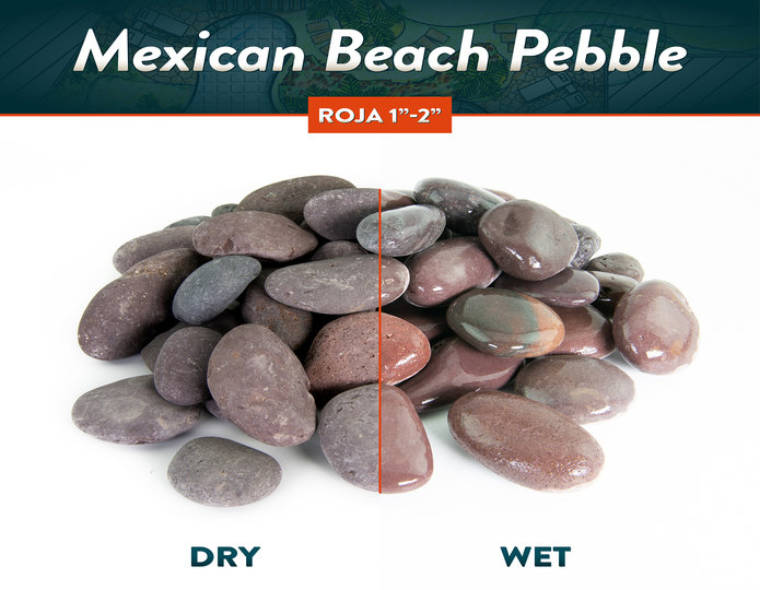 Mexican beach pebble roja wet and dry comparison