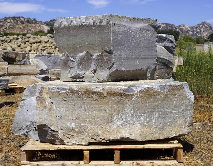 Steelhead Bench landscape boulder slabs on pallet in rock yard 5