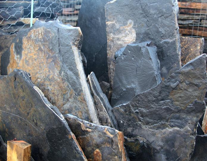 Black Knight natural flagstone patio pavers in bulk at rock yard