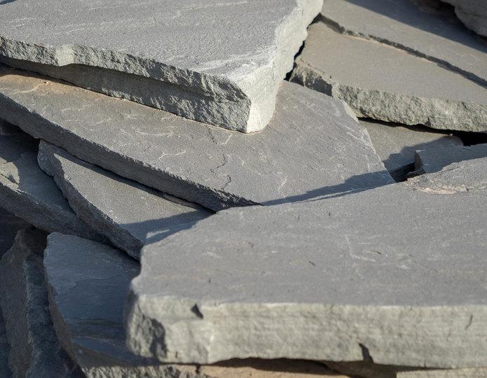 Bluestone Blue flagstone patio pavers in bulk at rock yard 2