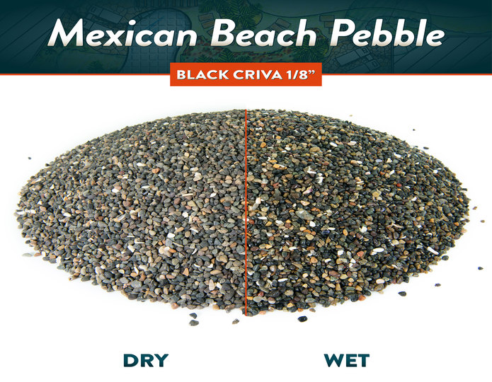 Criva mexican beach pebble black dry and wet rock side by side comparison