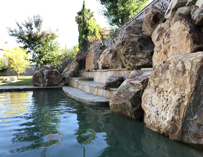 Brown Ale landscape boulders in pool water feature