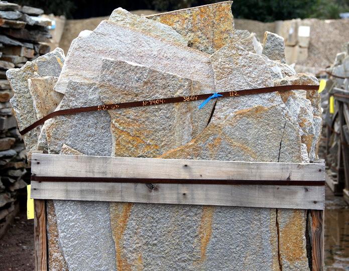 Gold Quartzite natural flagstone patio pavers in bulk at rock yard