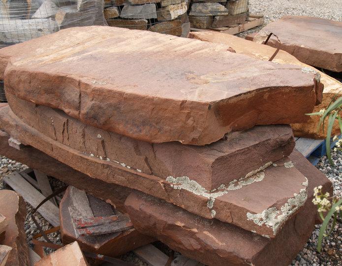 Coco Flats Premium Slab landscape boulders stacked on boulder in rock yard