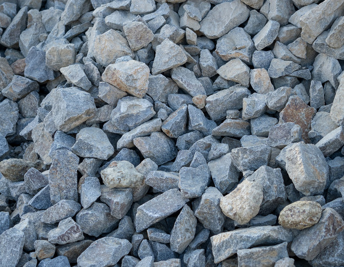 Cresta crushed stone rubble in bulk at rock yard