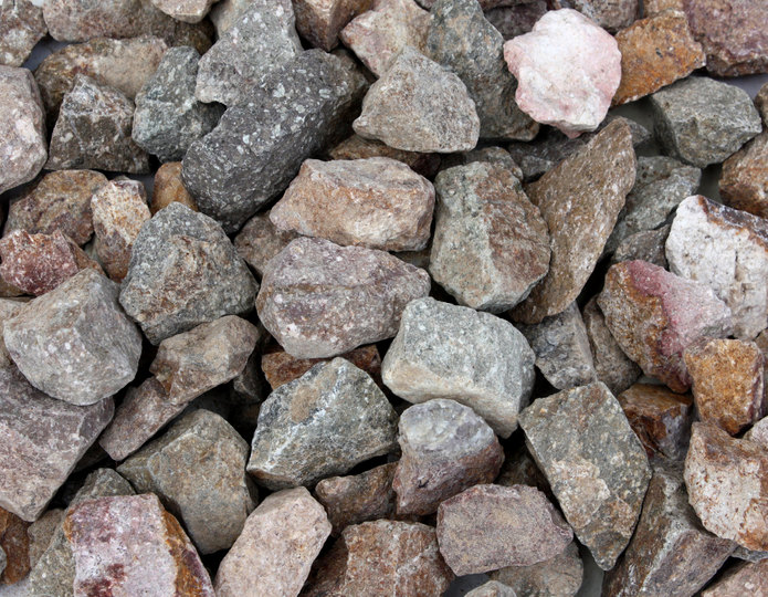 Miner's Gold crushed stone rock in bulk at rock yard
