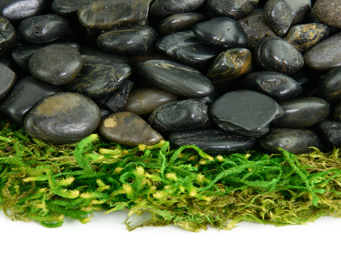 Black Polished decorative pebble closeup texture