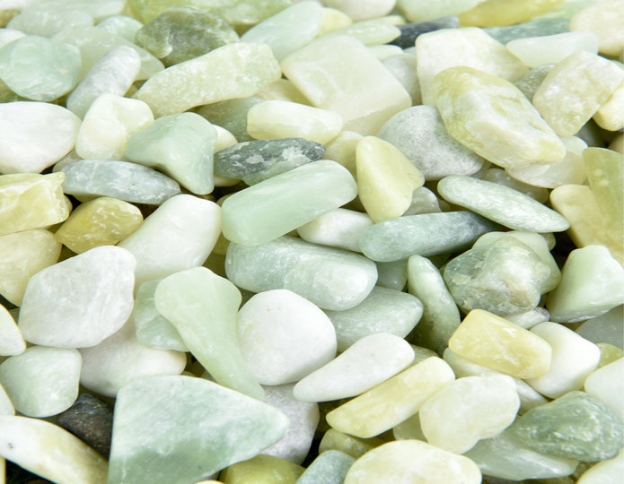 Jade Polished decorative pebble in bulk at rock yard