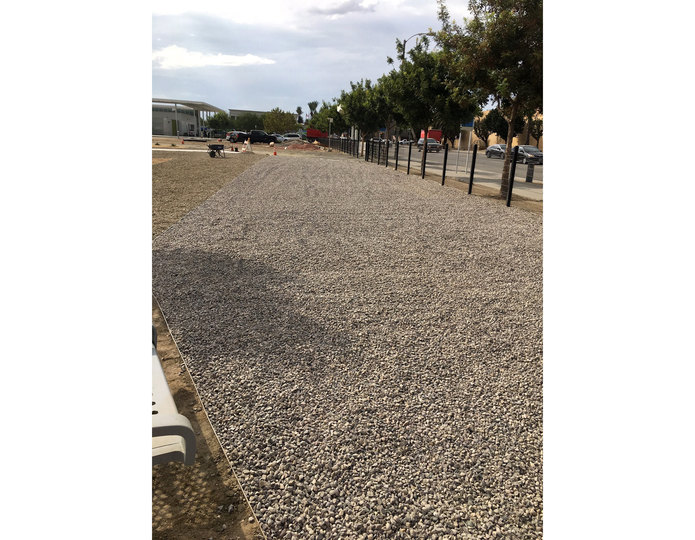 Crushed construction grade stone installed at commercial park pathway