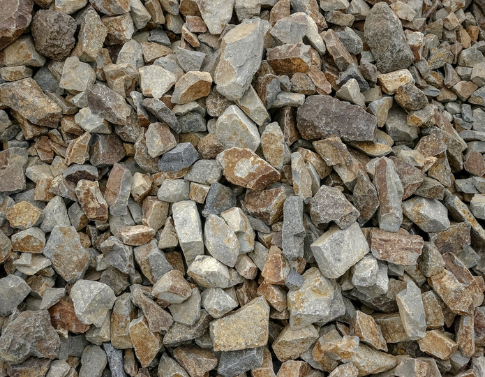 Hickory Creek crushed stone rock in bulk at rock yard