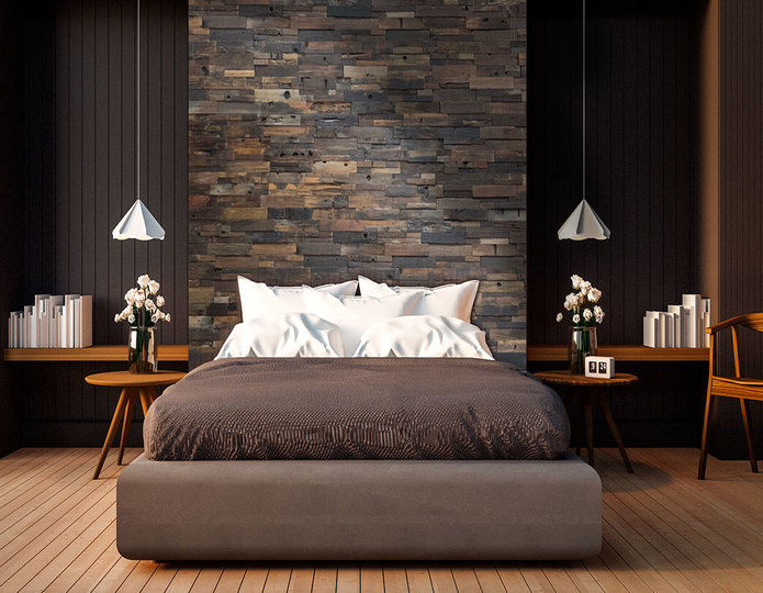 realstone systems reclaimed wood panels used in bedroom