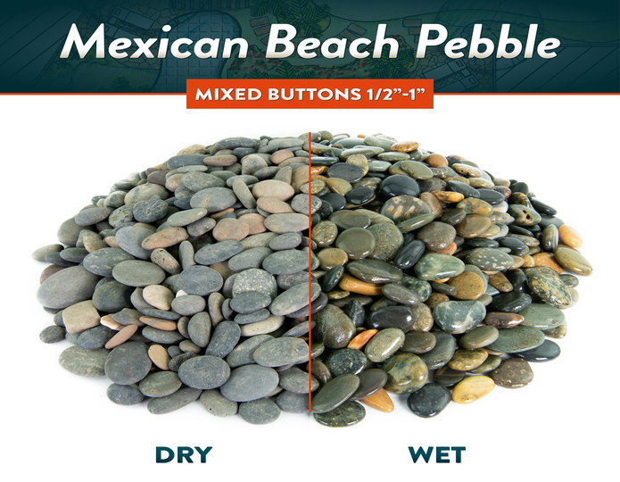 Mexican beach pebble mixed button wet and dry comparison