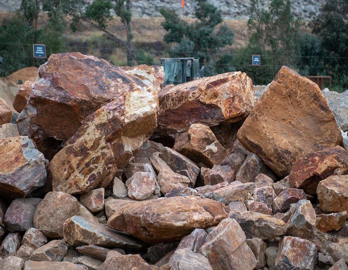 Baja Cresta landscape boulder group in rock yard