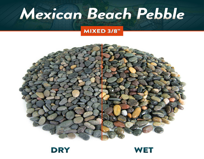 Mexican beach pebble mixed 3/8 inch wet and dry comparison