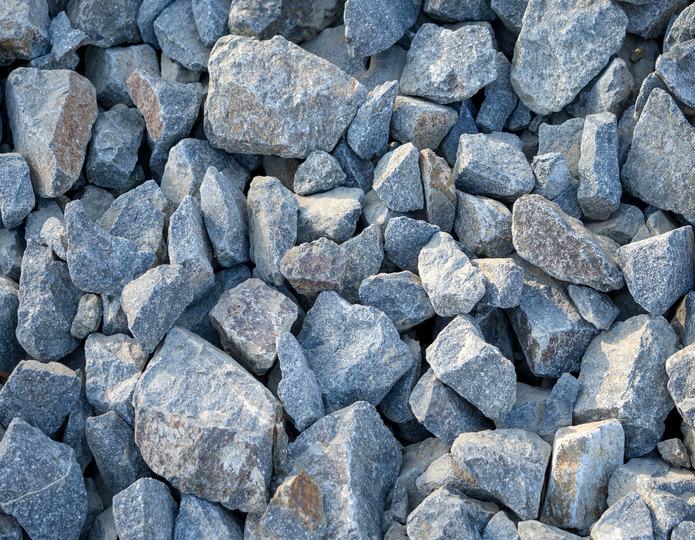 Cresta crushed stone rubble in bulk at rock yard