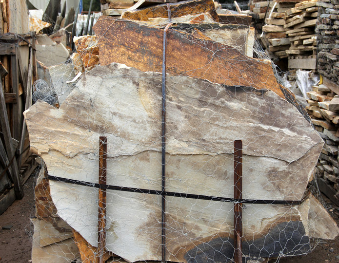 Crazy Horse natural flagstone patio pavers in bulk at rock yard