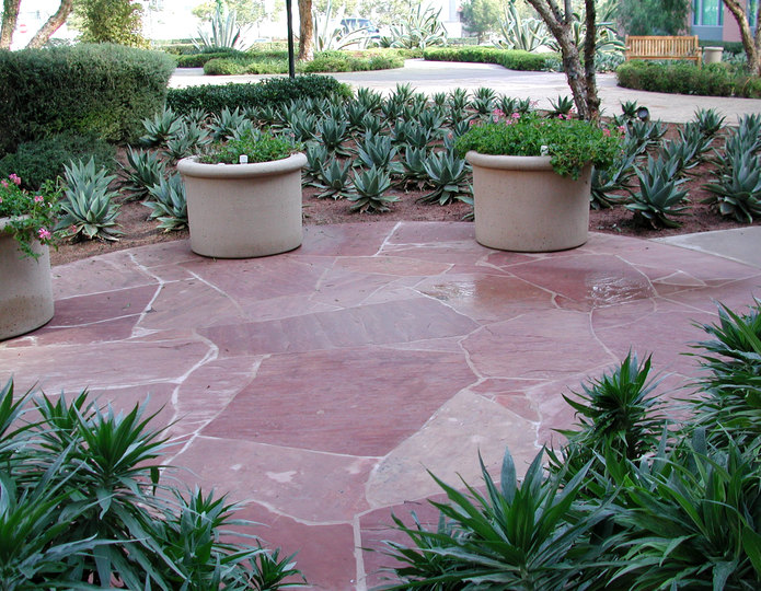 Arizona Rosa natural flagstone patio paver stepping stones patio with planters