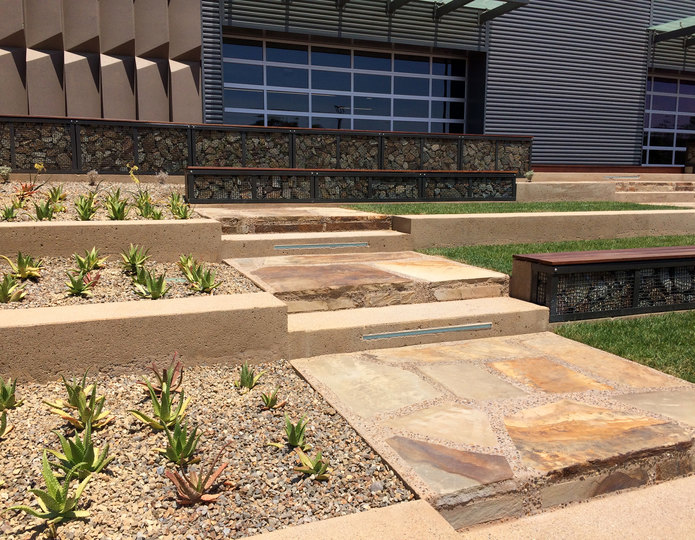 Cameron natural flagstone patio pavers steps in front of commercial building