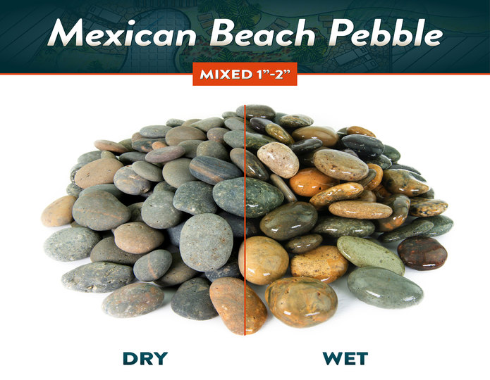 Mexican beach pebble mixed wet and dry comparison