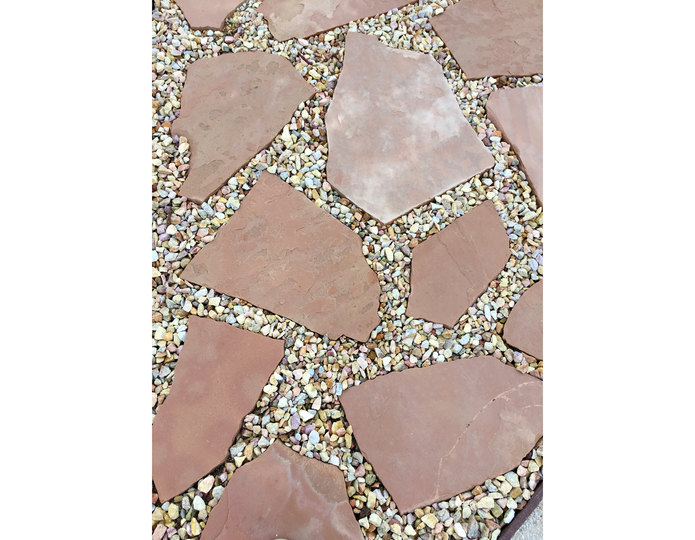Arizona Rosa natural flagstone patio paver stepping stones with crushed rock