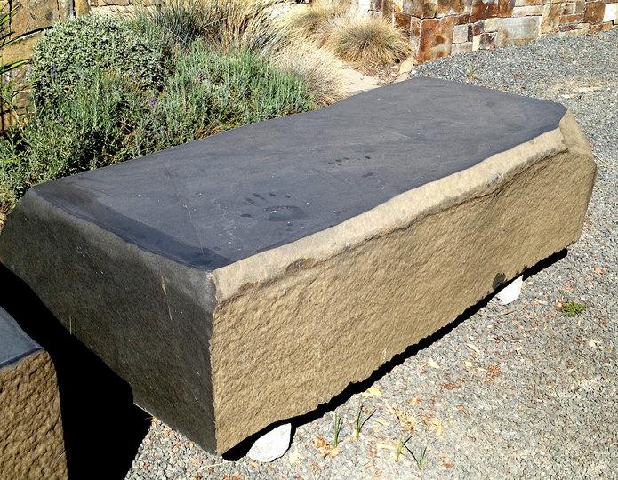 Basalt stone bench at rock yard 1