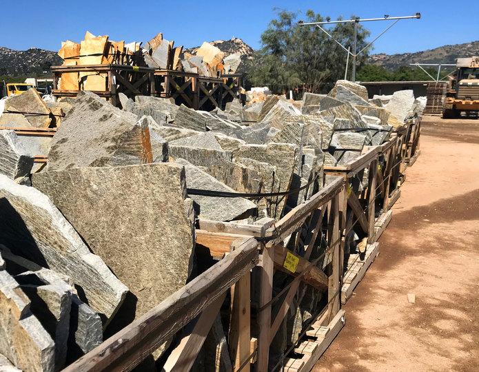 Silver hawk quartzite natural flagstone patio pavers in bulk at rock yard3