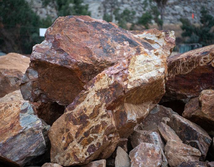 Baja Cresta landscape boulder pile in rock yard