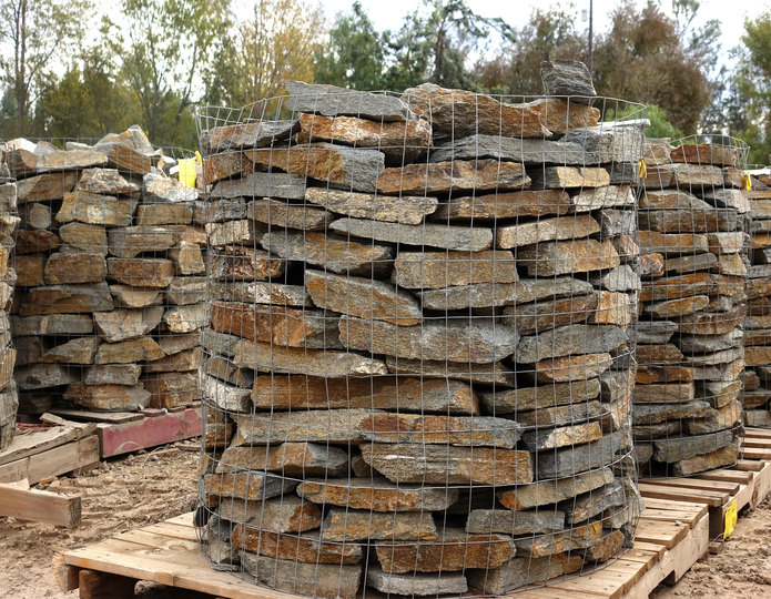 Red Mountain Natural Flagstone in bulk at rock yard